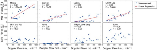 Correlation of the corrected DCE-MRI model results.Correlation of the corrected DCE-MRI model results with the Doppler flow values for the F-test selection method in the different muscle segments. The measurements are plotted using blue dots and the significant correlations (P<0.05) using a red line.