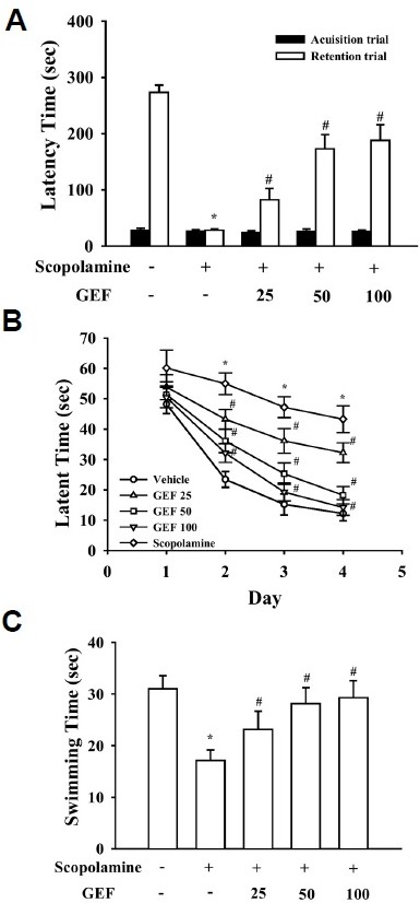 Effects of gintonin-enriched fraction (GEF) on scopolamine-induced memory deficit in the passive avoidance (A) and Morris water maze tests (B, C). (A) GEF (25, 50, and 100 mg/kg, p.o.) was daily administered through oral administration for three weeks. Memory impairment was induced by treatment with scopolamine (0.5 mg/kg, i.p.). Values are expressed as means ± SEM (n = 10). *P < 0.01 vs. control vehicle group). #P < 0.05 vs. scopolamine-treated control group. (B, C) The first trial session was performed 30 min after treatment with scopolamine. The training trial and the probe trial sessions were performed for 4 days as described in the Materials and Methods. Values are expressed as means ± SEM (n = 10). Mice were treated with GEF for 3 weeks by oral administration. *P < 0.01 vs. control vehicle group. #P < 0.05 vs. scopolamine-treated group.