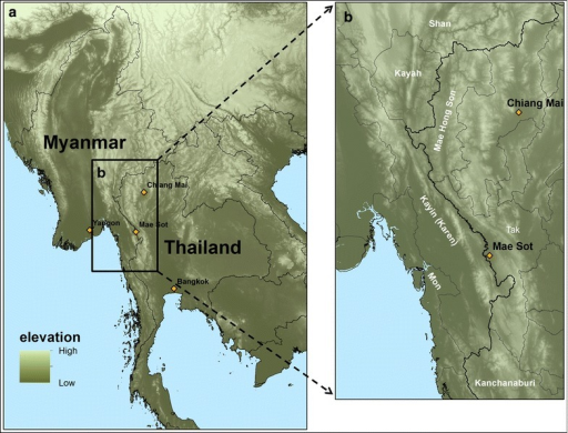 a Elevation map of mainland Southeast Asia. b Map of Thailand–Myanmar border area, including border states of Myanmar and provinces of Thailand. Map created using ArcMap 10.2