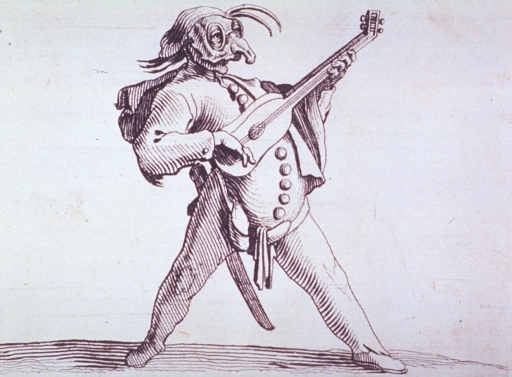 <p>Grotesque figure of a man playing a stringed instrument and wearing a mask.</p>