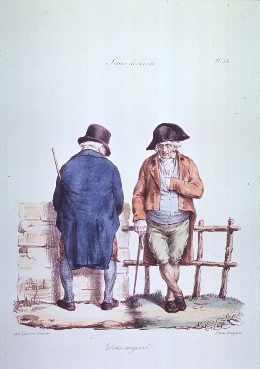 <p>Caricature:  Two men standing next to each other; one facing a brick wall, the other leaning against a wooden fence.</p>