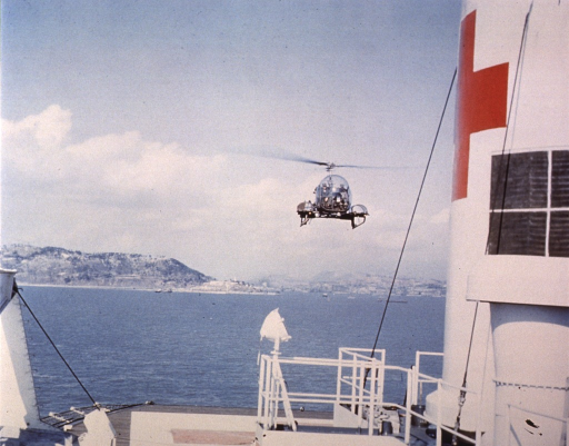 <p>Helicopter landing on deck.</p>