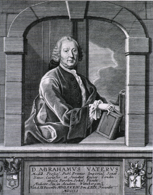 <p>Figure seated in window; right pose; hand on book.  Coat-of-arms in corners.  Latin inscription on base.</p>