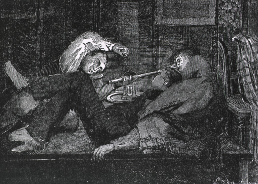 <p>Two men and a woman are in reclining positions smoking opium;  one man is leaning against the woman who is lying perpendicular to him, the other man is manipulating the bowl of the pipe over a flame.</p>