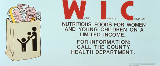 <p>White poster with red and black lettering.  Title on right side of poster.  Visual image, an illustration of a full grocery bag, on left side of poster.  Nondiscrimination statement in lower left corner.</p>