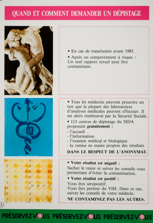 <p>Predominantly white poster with black and white lettering.  Title at top of poster.  Left side of poster features three color photo reproductions:  a statue depicting a man and woman kissing, a caduceus, and an array of test tubes.  Right side of poster has text urging screening in case of blood transfusion before 1985 or after risky sex, explaining that a doctor can prescribe the test and that 113 centers offer free, anonymous testing, and what to do based on test results.  Note repeats three times at bottom of poster, with a fresh pink condom representing the &quot;o&quot; in &quot;vous.&quot;</p>