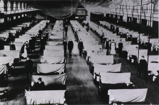 <p>Overhead view of a special ward. The patients' beds are separated by screens. Everyone wears a mask. Nets hang from the ceiling.</p>