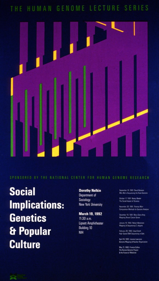 <p>The top part of the poster has a graphic design in orange, purple, and green. The remainder of the poster lists the date (Mar. 19, 1992), time, and location of the lecture along with the speaker's affiliation with the Department of Sociology, New York University.  Lectures scheduled from Sept. 19, 1991 through May 21, 1992 are also listed.</p>