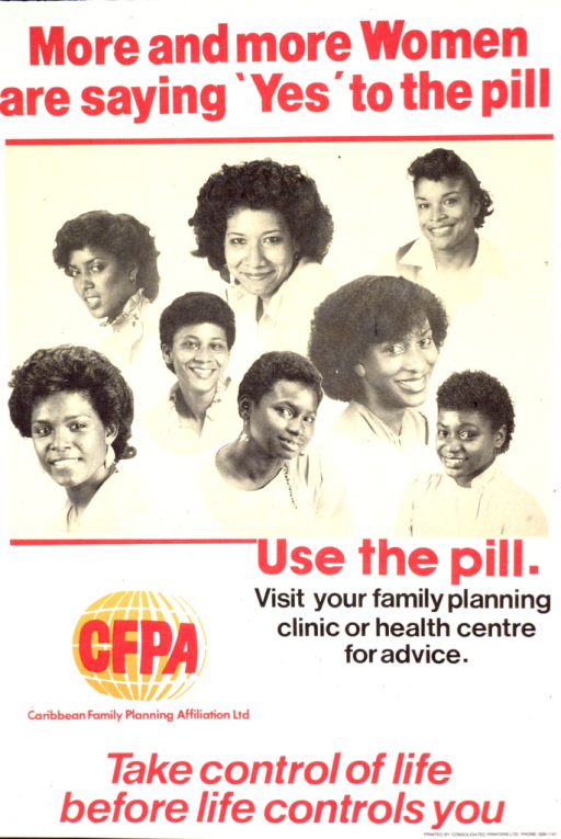 <p>Predominantly white poster with red and black lettering.  Title at top of poster.  Visual image is a montage of b&amp;w photo reproductions featuring smiling women.  Caption and publisher information below montage.  Note at bottom of poster.</p>
