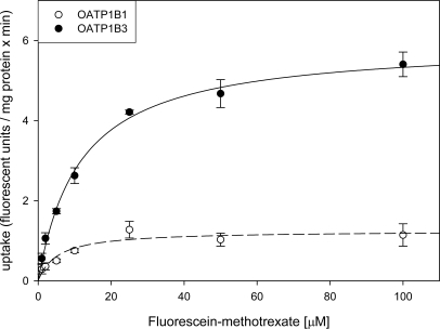 Kinetics of OATP1B1- and OATP1B3-mediated FMTX uptake. Uptake of increasing concentrations of FMTX was measured at 37 °C for 2 min on 24-well plates with CHO wild-type and OATP1B1 or OATP1B3 expressing cells. Net OATP1B1 (open circles) or OATP1B3 (closed circles) uptake was calculated by subtracting uptake into wild-type cells from uptake into OATP-expressing cells. The values (means ± SE) were fitted to the Michaelis-Menten equation using non-linear regression analysis.