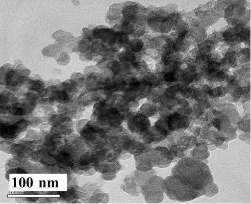 TEM image of the solid sample prepared with 9 mL 0.06 M Na3cit aqueous solution.