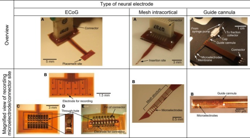 Photographs of the fabricated ECoG electrode, mesh intracortical electrode, and guide cannula electrode of the microdialysis electrode. (A) Overview of the fabricated neural electrode. (B) Magnified view of recording microelectrodes or connector sites. (C) Back face of the connector side of the ECoG electrode. (D) Magnified view of a through-hole for connector pins in the ECoG electrode. (E) Back face of connector side fitted with soldering pins of connector in the ECoG electrode.