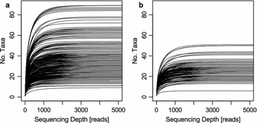 Species accumulation curves. aOsmia bicornis samples; bOsmia truncorum samples. The x-axis was limited to 5,000 reads as the saturation of all samples was below this threshold. The y-axis was limited to 90 taxa in both plots to obtain the same scale. Taxa accounting for less than 0.1% of total sample reads were excluded.