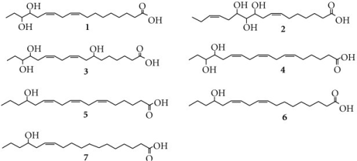 Structural formulas of hydroxy fatty acids in the present study.