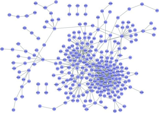 Combined gene interaction network based on the novel scores of each gene pairs across 4 methods. Genes were denoted as nodes and interactions between gene pairs were presented as edges (lines) in the image. A total of 280 nodes and 515 edges composed the combined network.