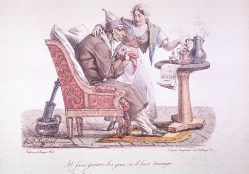 <p>A sick man sitting in a chair is about to take an infusion prepared by a woman standing next to him; behind the chair is a clyster sitting in a chamber pot.</p>