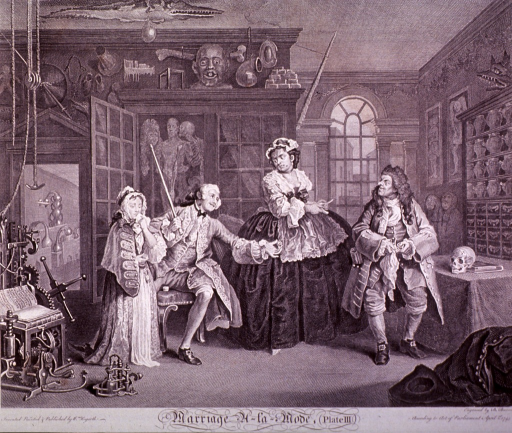 <p>Third in series of six engravings depicting the dissolution of a marriage conceived of greed and vanity. In this scene, the husband, having contracted venereal disease, accompanied by his grieving mistress, visits a quack doctor (identified by John Misaubin) and female accomplice. Icons of death, such as skulls, skeletons, anatomical dissections, surround the figures.</p>