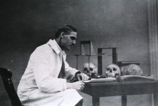 <p>Three-quarter length, seated at table, right profile; several skulls on table.</p>