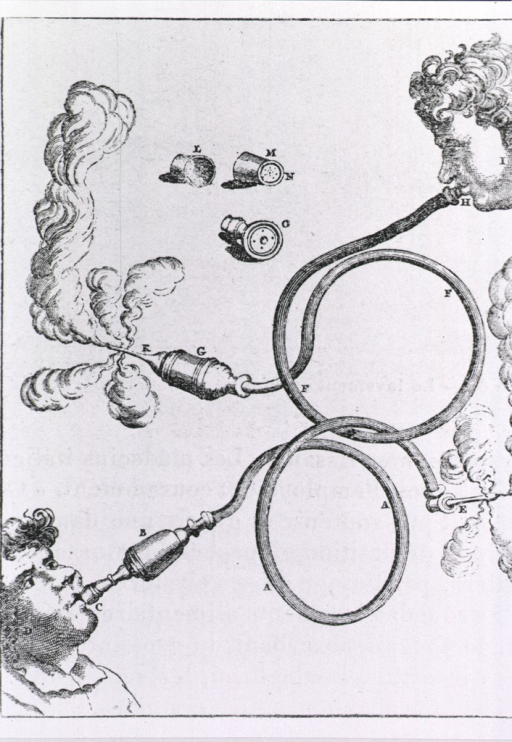 <p>Clyster apparatus which uses tobacco smoke.</p>
