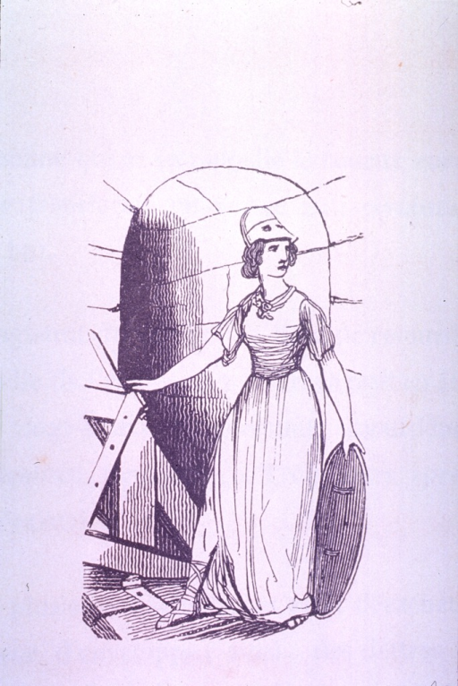<p>A female allegorical figure representing the concept of quarantine stands by an open door with a shield in her hand.</p>