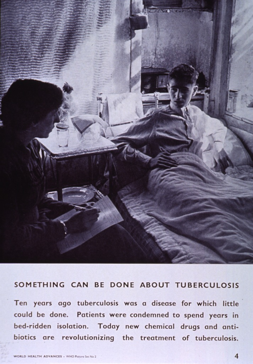 <p>White poster with black lettering.  Upper portion of poster features visual image, a reproduction of a b&amp;w photo in which a woman with a notepad confers with a young man in a sickbed.  Title below photo, caption below title.  Note in lower left corner.</p>