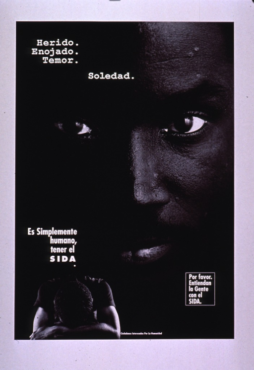 <p>Black and white poster with white lettering.  Title at top of poster.  VIsual images are b&amp;w photo reproductions.  The dominant image is a close-up shot of a man's face.  Superimposed on that is a smaller photo of the man resting his head on his arms.  Caption on left side of poster states that the title emotions are only human for one with AIDS.  Note on right side of poster asks for understanding.  Publisher information at bottom of poster.</p>
