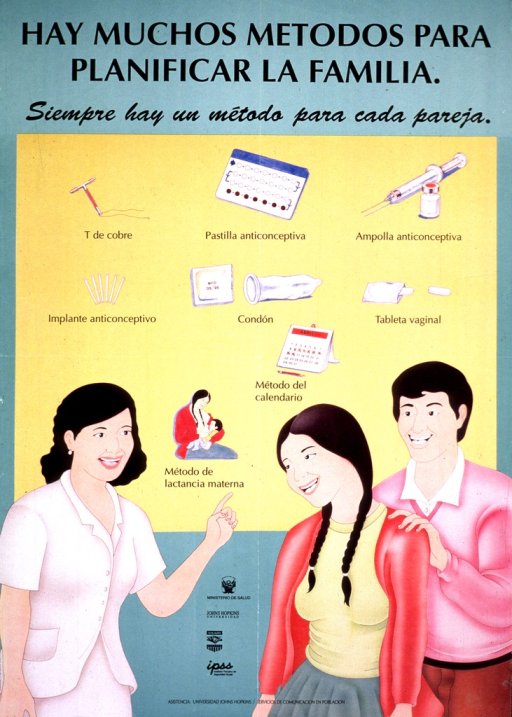<p>Green and yellow poster with black lettering.  Title and note at top of poster stress that there are many contraceptive methods and that each couple needs one.  Visual image is an illustration of a health worker pointing to a chart depicting several methods.  A man and woman stand together near the health worker.  Contraceptive methods include IUD, pill, injection, implant, condom, vaginal tablet, rhythm, and breastfeeding.  Publisher and sponsor information in lower portion of poster.</p>