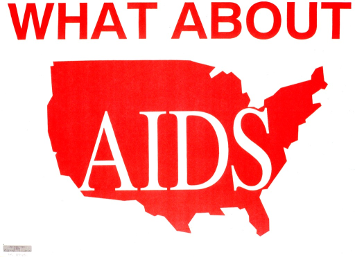 <p>Predominantly white poster with red and white lettering.  Title dominates poster.  Title word &quot;AIDS&quot; superimposed on a silhouette of the lower 48 states.</p>