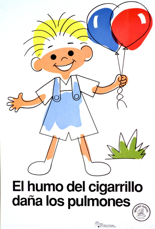 <p>Predominantly white poster with black lettering.  Visual image is a color cartoon-style illustration of a child holding two balloons.  Title below illustration.  Publisher information in lower right corner.</p>