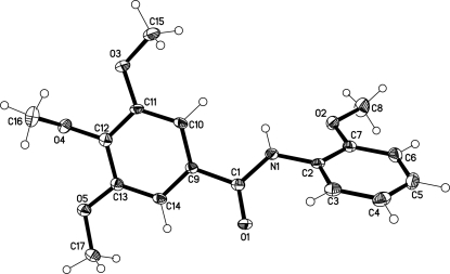 Molecular structure of title compound. Displacement ellipsoids are drawn at the 50% probability level.