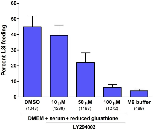 S. stercoralis L3i activation is attenuated by the PI3 kinase inhibitor LY294002.In vitro activation of S. stercoralis L3i under host-like culture conditions by incubation in DMEM, 10% canine serum, and 12.5 mM reduced glutathione for 24 hours at 37°C and 5% CO2. The percentage of L3i that resumed feeding, a hallmark of activation, was scored by ingestion of FITC into the pharynx. Conditions included DMSO (carrier) positive control and M9 buffer negative control. The PI3 kinase inhibitor LY294002 was evaluated at 100 µM, 50 µM, and 10 µM, with each condition compared to the DMSO control using a logistic regression analysis. Error bars represent +1 SEM and parenthetical integers show the total number of L3i evaluated for each condition.