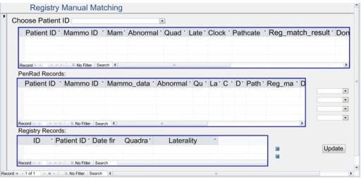 Microsoft access form for manual matching between mammography results and registry.