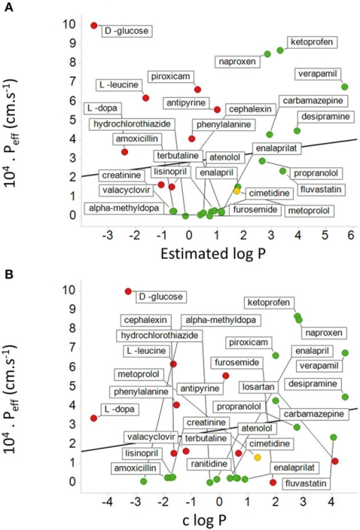 "Relationship between measured human jejunal permeability and log P. The abscissa is either based on (A) an estimated log P or (B) a calculated log P (c log P). Data are re-plotted from Table 4 and Figures 4, 5 of Kasim et al. (2004). In (A) data are not available for losartan and ranitidine, and there are 8 false negatives shown in red. Metoprolol is a ""reference compound"" (Kasim et al., 2004; Incecayir et al., 2013; Zur et al., 2014) and is shown in yellow. In (B) there are also two false positives. The lines shown are the lines of best fit; in (A) the correlation coefficient is 0.12 while in (B) the correlation coefficient is 0.18."