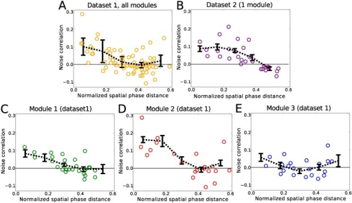 Noise correlations versus phase distance.(A) shows all three modules of data set 1 combined, while (B) shows the one module of data set 2. For the smaller modules of data set 1 (C, D) the noise correlations are positive for small phase differences while they approach zero for larger phase separations. No significant pattern can be observed for the cells from the largest module of data set 1 (E). The distance in phase was normalized by the average spacing of the spatial fields in each module. In each plot, the circles represent the inferred values using the full data length. The noise correlations were calculated by binning the environment into 7.5 × 7.5 cm spatial bins. The black lines show the average values of the correlations calculated from 20 random partitions (see Material and Methods) of the data. The error bars are the standard deviation of the mean values over these 20 random partitions. Note that the normalized maximal phase distance occurs at the minimum overlap between the two commonly oriented hexagonal patterns and is 0.5/cos(30) ≈ 0.6.