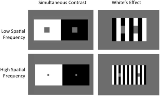 Simultaneous Contrast vs. White's Effect. Albedo of gray target patches in Simultaneous Contrast shift away from background, demonstrating contrast. Targets in White's Effect shift toward surrounding context, demonstrating assimilation. Increasing spatial frequency increases the effect in both cases.