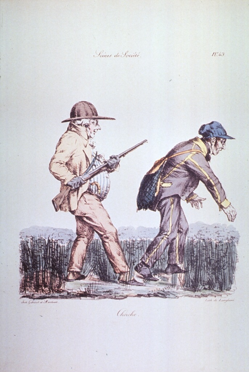 <p>Caricature:  Two men walking through a field, hunting.</p>