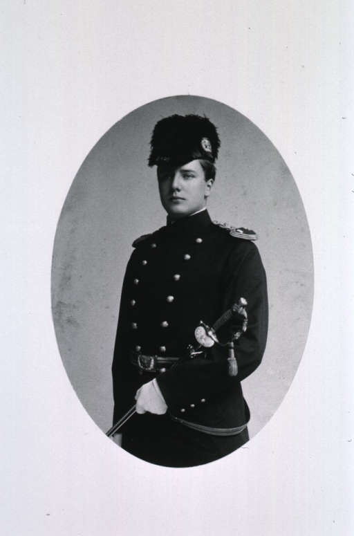 <p>Standing, three quarter length, left pose; in uniform.</p>