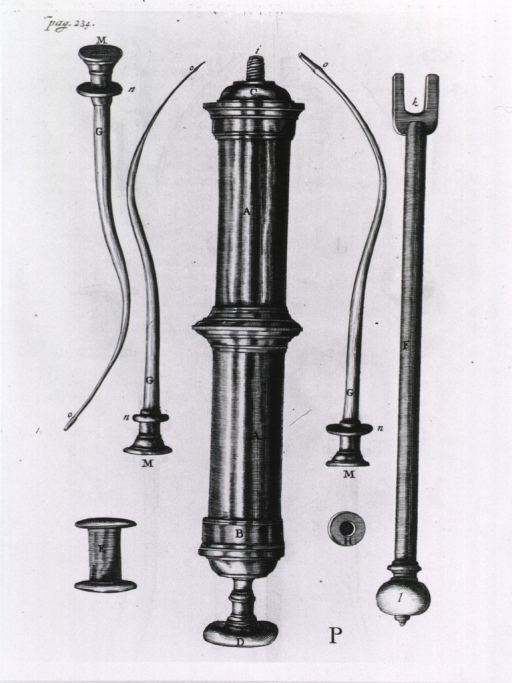 <p>A clyster device with needle-like attachments.</p>