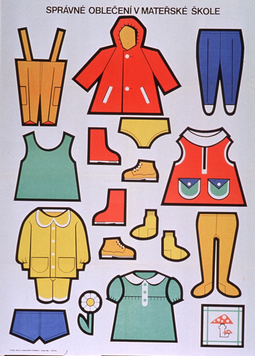 <p>Predominantly white poster with black lettering.  Title at top of poster addresses the concept of proper clothing for kindergarten or nursery school.  Visual images are brightly colored articles of clothing, including shorts, overalls, simple dresses, leggings, shoes, and outerwear.  Publisher information in lower left corner.</p>