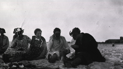 <p>Showing the supervisors sitting on the beach.</p>