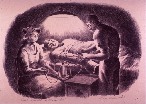 <p>Showing a man donating blood.</p>