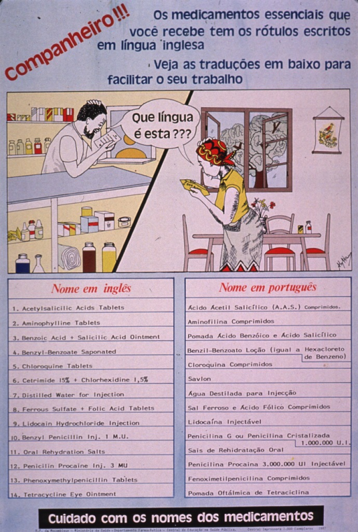 <p>Multicolor poster.  Title at top of poster.  Additional text near title notes that many essential medicines bear labels written in English and offers the translations below to make work easier.  Visual image is a two-part illustration.  One side features a pharmacist looking at a paper and scratching his head as if confused.  The other side features a woman standing in her dining room holding a package and looking similarly confused.  Both parties speak the caption text, which appears in one overlapping text bubble.  Lower portion of poster provides the names of 14 medications in English and Portuguese.  Note and publisher information at bottom of poster.  Note urges care with the names of medications.</p>