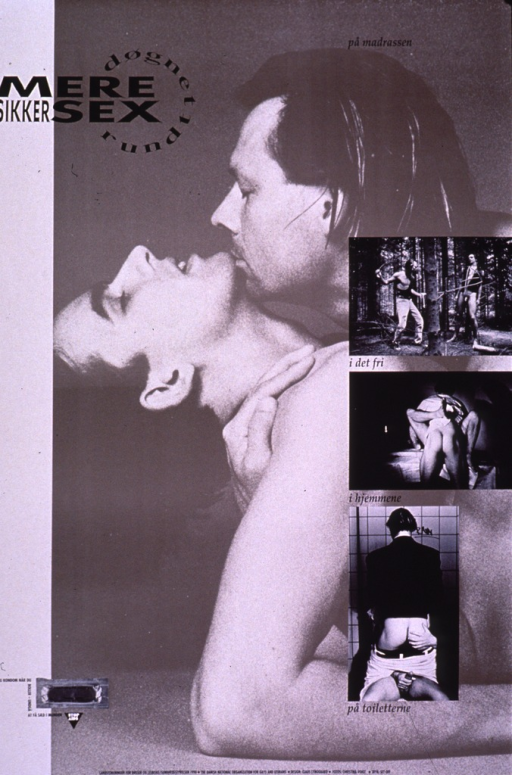 <p>Predominantly taupe poster with black lettering.  Title in upper left corner.  Dominant visual image is a photo reproduction showing a male-male couple kissing.  Smaller photos depict sexual activities in different settings.  One phrase of caption text accompanies each photo.  Additional text on poster urges condom use.  Publisher information at bottom of poster.</p>