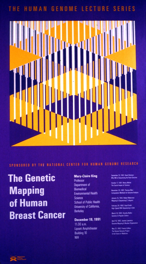 <p>The top half of the poster is a graphic design in orange, gray, and purple. The date (Dec. 19, 1991), time, and location of the lecture are given as well as the affiliation of the speaker with the School of Public Health, University of California, Berkeley.  Lectures scheduled from Sept. 19, 1991 through May 27, 1992 are also listed.</p>