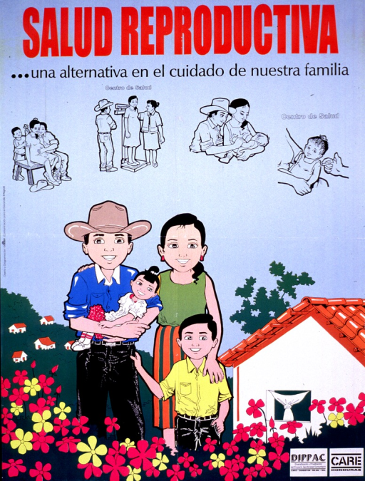 <p>Blue background with red and black lettering. Lower half of poster is an illustration of a smiling family (father and mother with two children) standing among some flowers with a house behind them on the right side of the poster. Above the family is a series of four small black &amp; white illustrations showing a mother from pregnancy through holding her new baby. Two logos are in lower right hand corner.</p>