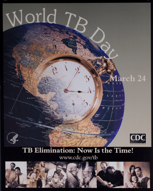 <p>Multicolored poster with white lettering. Dominant visual image is a globe with a clock superimposed over it. 6 smaller images of couples and families of different ethnicities, race, and age at bottom of poster. Title above image. Note next to image. Caption and CDC Web site below image.</p>
