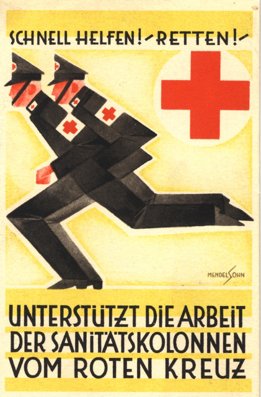 <p>A highly stylized drawing of two men in black uniforms against a bright yellow background. They have Red Cross badges on their caps and Red Cross bands on their sleeves. They are presented from left profile, running very close to each other, their bodies, arms and legs at angles which help create an early rendition of a German swastika. On the right hand side of the postcard, behind them, is a large picture of the red cross. Signature reads &quot;Mendelsohn&quot;.</p>