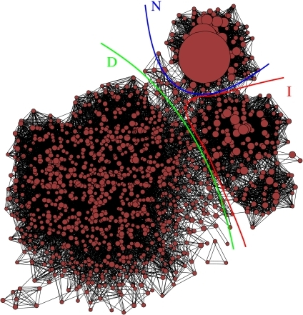 Kinetic network representation of the sampled conformational space of TRPZ1 at 450 K. Each circle represents a cluster obtained using the leader algorithm based on a DRMS metric between conformations. The size of the circle is proportional to the number of structures in the cluster. Pair of clusters are connected by lines when a transition has been sampled along the simulations. Clusters with similar connectivity pattern are placed close together in the plot. The large cluster on the top of the figure and the connected ancillary clusters within the blue boundary corresponds to the native state N. The large set of small clusters evenly distributed on the left of the figure within the green boundary corresponds to the D state. The couple of sets of clusters below the Native state and within the red boundary corresponds to the I state. The I state provides the more frequent connection between the N and D states, as revealed by the density of connecting lines. For graphical reason, small clusters were lumped together according to the dRMSD between cluster centers, so that, at the end of the procedure, all the clusters contain more than 20 conformations. Please note that the VIR was computed using unlumped clusters. The figure was prepared using VISONE (http://visone.info), similarly to what was done in Rao and Caflisch (48).