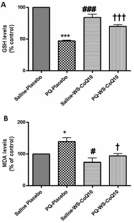 Oxidative stress markers. Experiment 2: Following behavioral testing, rats were sacrificed, midbrain tissue was homogenized and assayed for GSH (A) and MDA levels (B). Data (mean ± SEM) was normalized to that of saline injected placebo fed group, which was taken as 100%. (A) statistically significant differences (p < .001): *** between saline injected placebo fed group and paraquat injected placebo fed group; ### between paraquat injected placebo fed group and saline injected WS-CoQ10 fed group; HHH between paraquat injected placebo fed group and paraquat injected WS-CoQ10 fed group. (B) Statistically significant differences (p < .05): * between saline injected placebo fed group and paraquat injected placebo fed group; # between paraquat injected placebo fed group and saline injected WS-CoQ10 fed group; H between paraquat injected placebo fed group and paraquat injected WS-CoQ10 fed group.