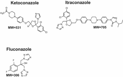 Chemical structures of three antifungal drugs.